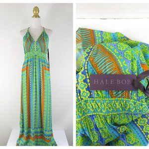Hale Bob Green Turquoise V Neck Halter Maxi Dress